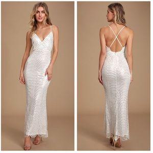 Lulus Yolanda White Sequin Sleeveless Maxi Dress